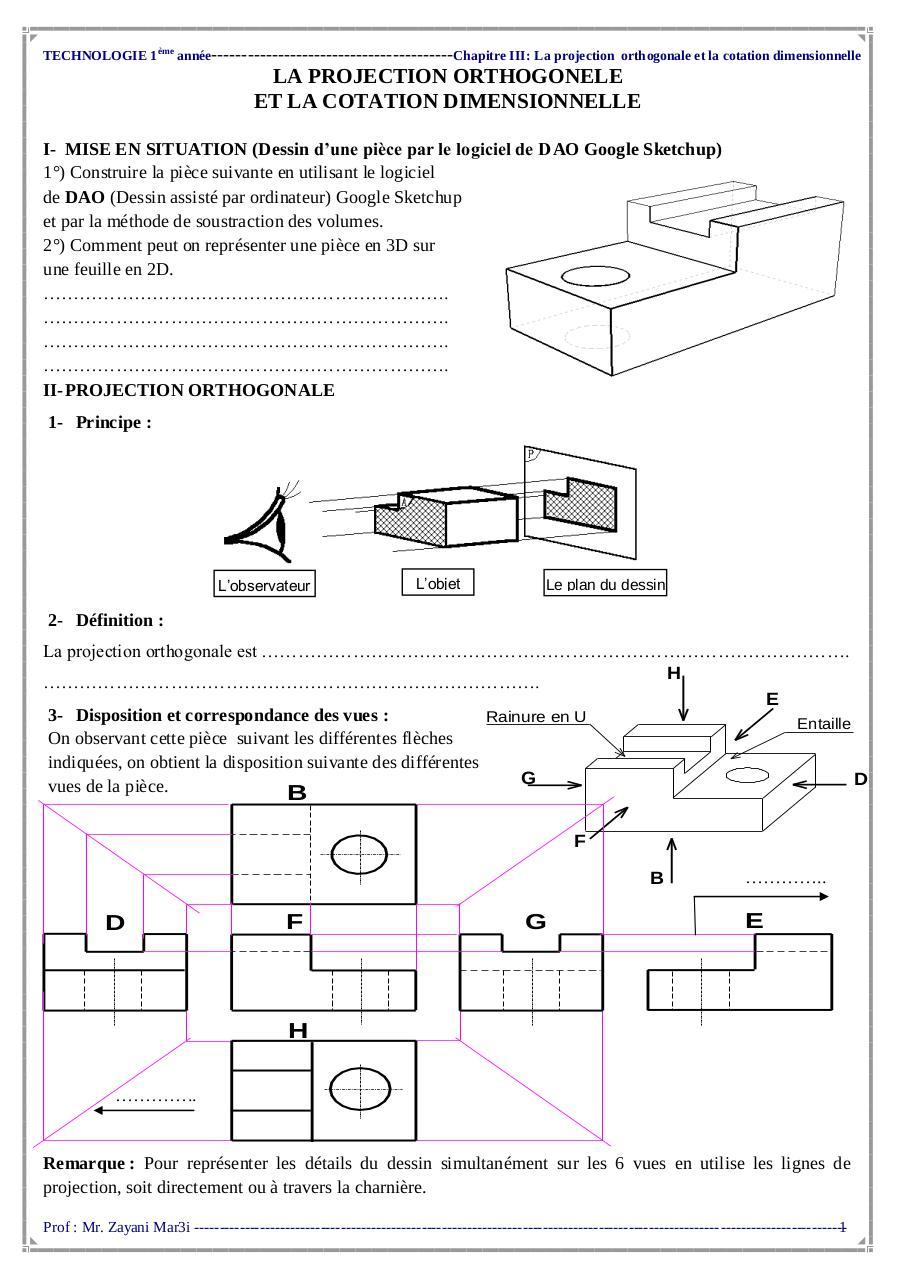 Recherche Pdf Dessin Technique Projection Orthogonale