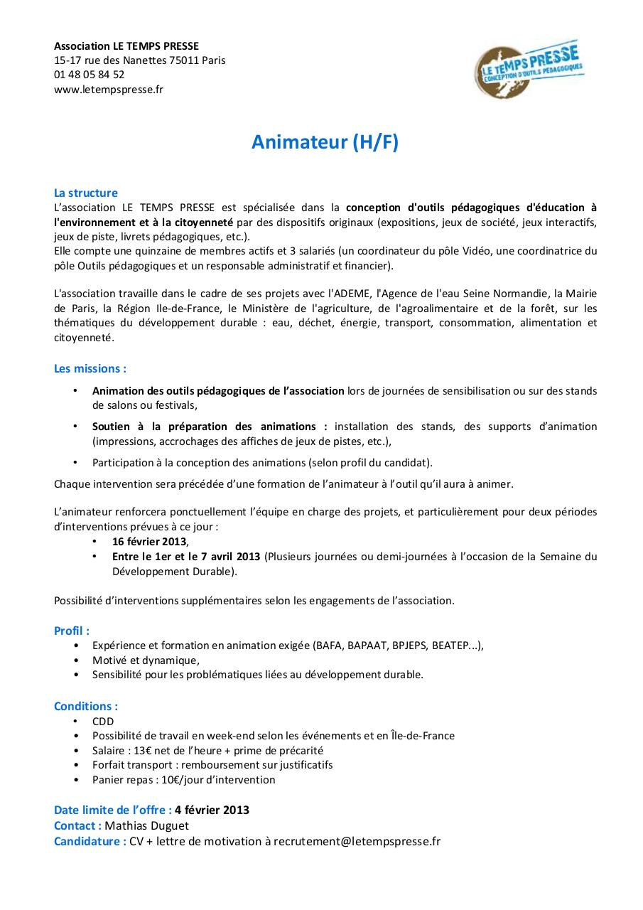 Lettre De Motivation 1er Emplois (bapaat) Discussion générale Animation