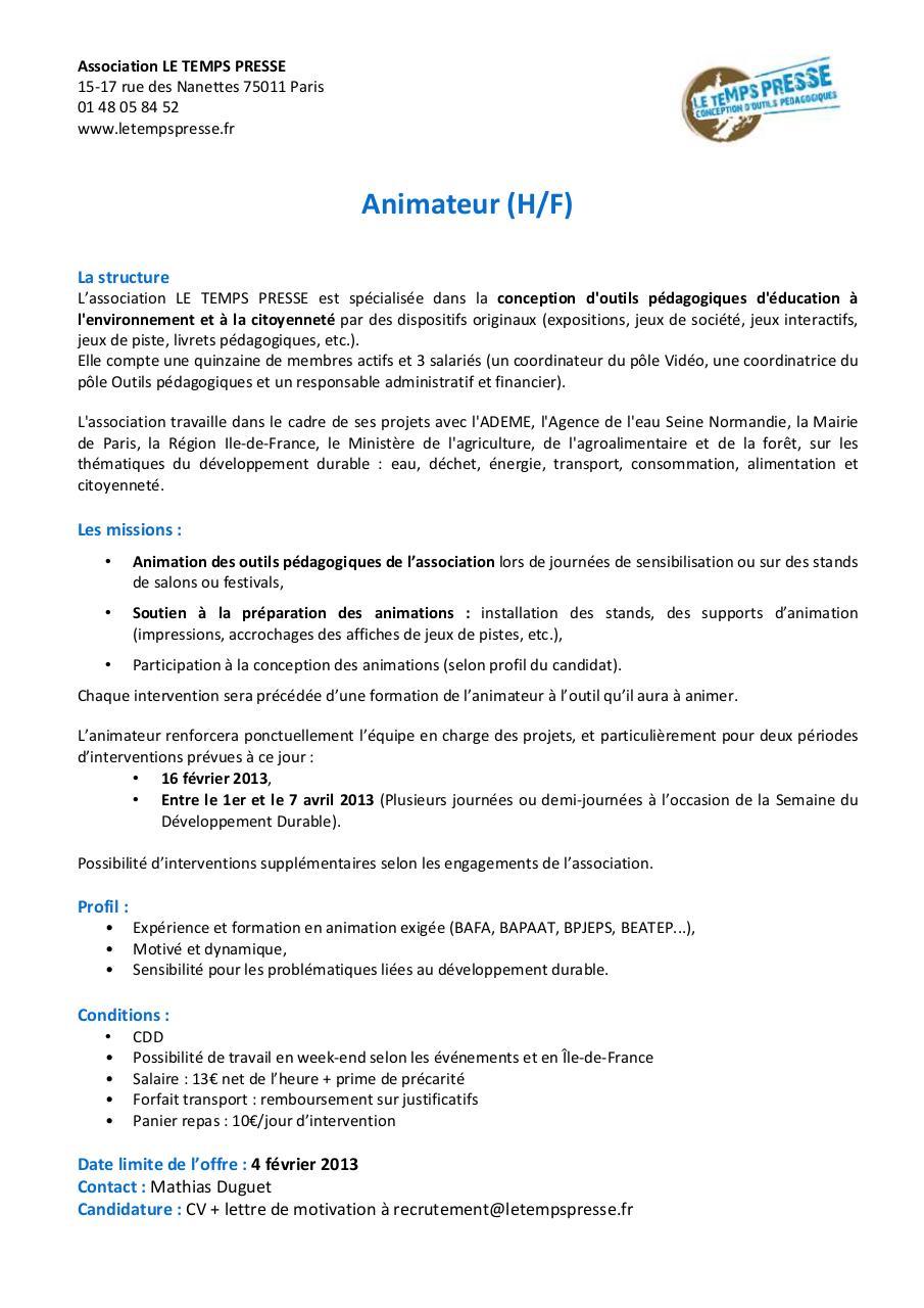 offre d u0026 39 emploi animateur ltp par le temps presse