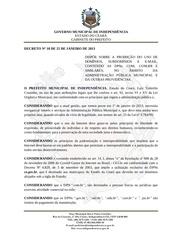 decreto n 10 de 25 de janeiro de 2013 proibe o uso de dpn com pgmi