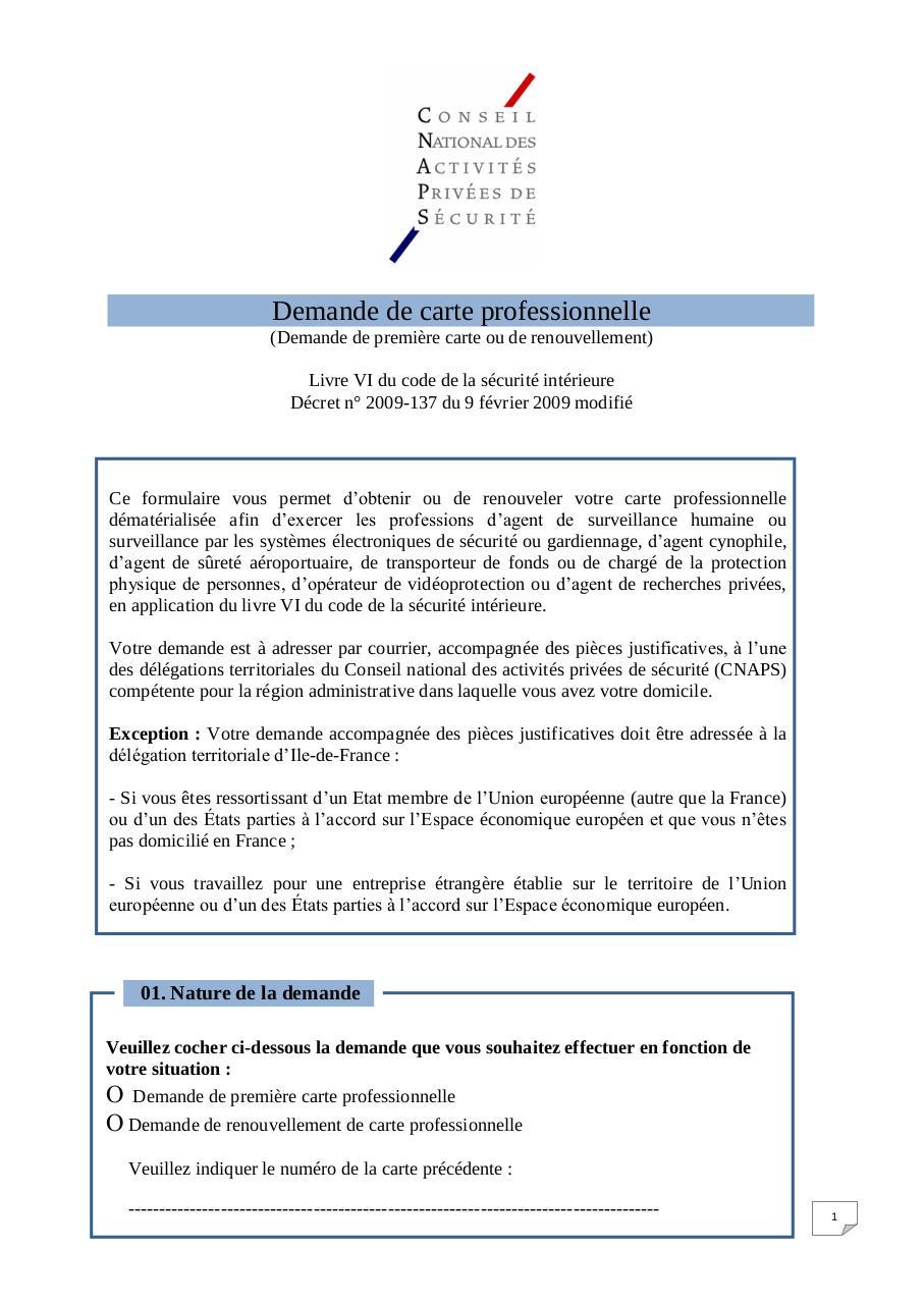 demande de carte professionnelle agent de sécurité Formulaire carte pro cnaps   Fichier PDF
