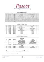 horaire pascot 2013