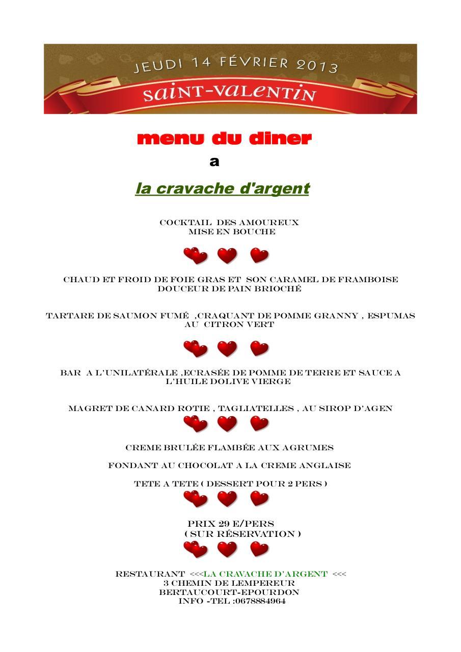 menu saint valentin 2013 par hakim merdjane fichier pdf. Black Bedroom Furniture Sets. Home Design Ideas