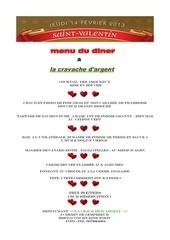 menu saint valentin 2013