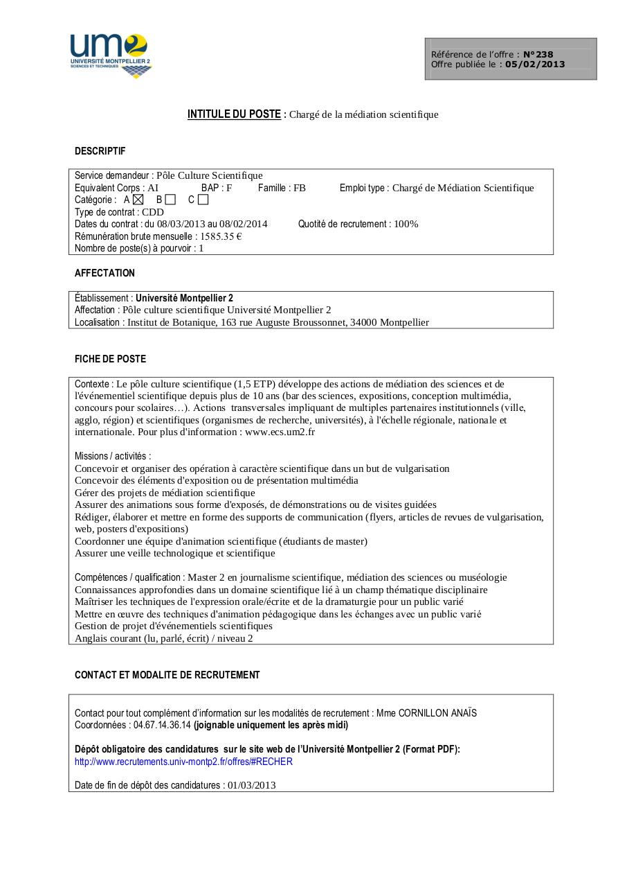 Fiche De Poste Charge De La Mediation Scientifique Par Form03