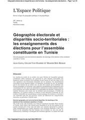 geographie electorale et disparites socio territoriales les enseignements des elections de l assemblee constituante en tunisie