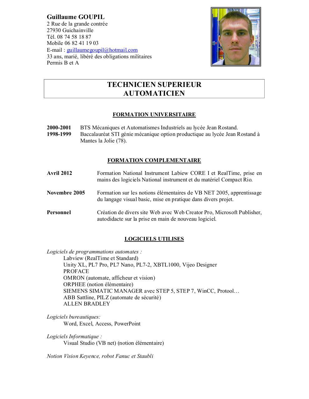 cv 2012 doc par guillaume - cv goupil guillaume pdf