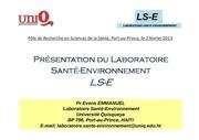 laboratoire sante environnement 2 fevrier 2013