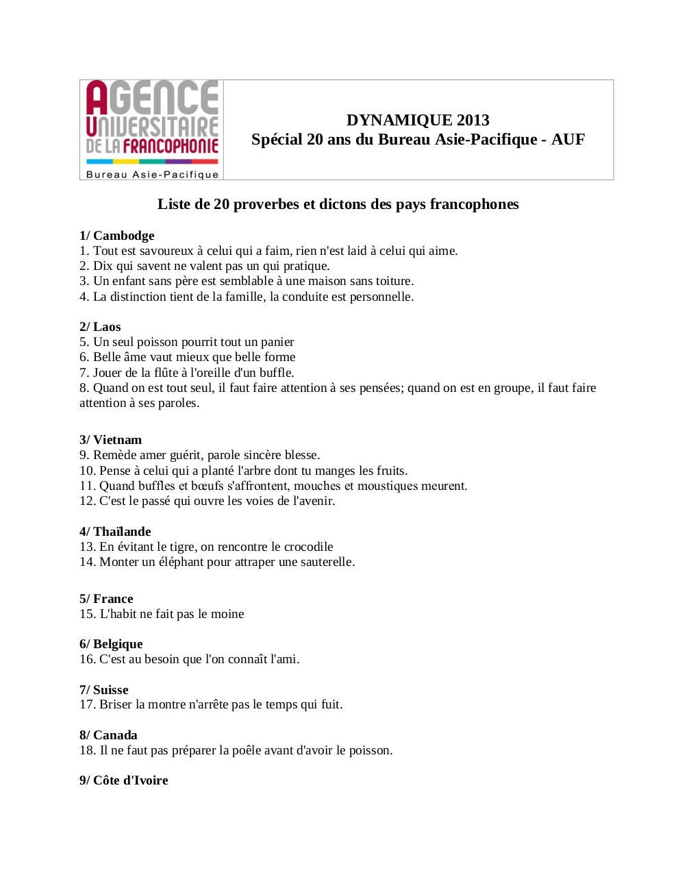 Liste De 20 Proverbes 2013 Par Vychuoi Fichier Pdf