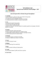 liste de 20 proverbes 2013