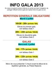 info gala 2013 et tableau