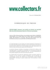 introduction en bourse de collectors le 19 fevrier 2013