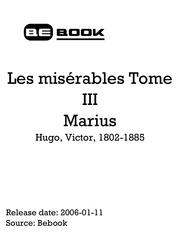 hugo victor 1802 1885 les misa rables tome iii marius