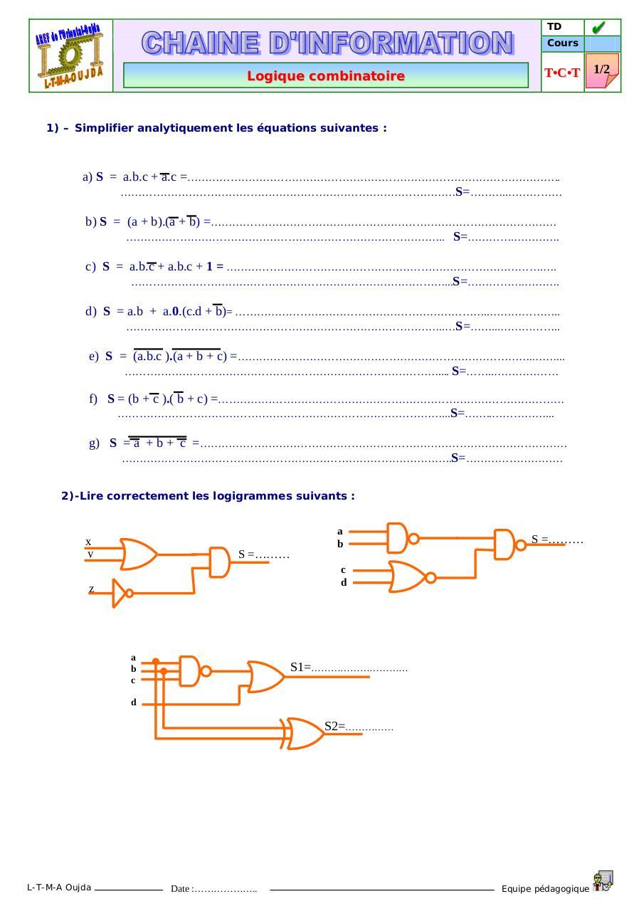 Logique combinatoire 1 par M - Zaghnane - exercice de ...