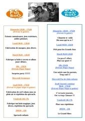 program enfant 2 eme semaine fevrier 2013