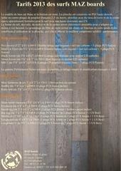 Fichier PDF tarifs 2013 surfs mazboards