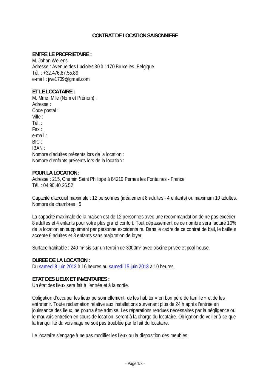 Bail De Location Guiluca 130608 130615 Par Johan Fichier Pdf