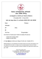 bulletin inscription danse contemporaine metissee