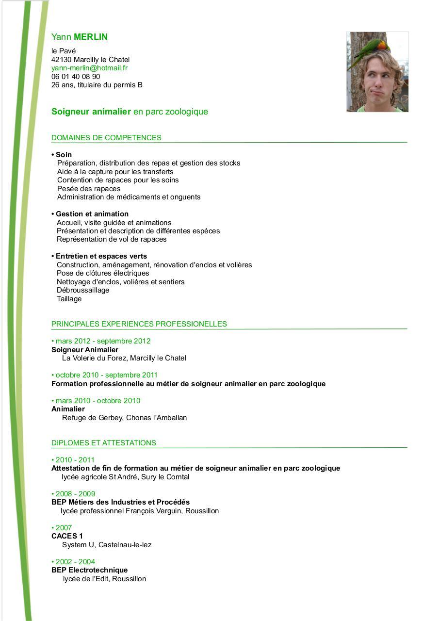 Cv fichier pdf for Travailler dans les espaces verts