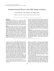 residual intestinal disease after milk allergy