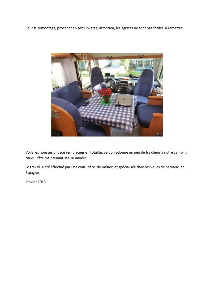 Remplacement des housses des si ges dans le camping car for Housse siege camping car