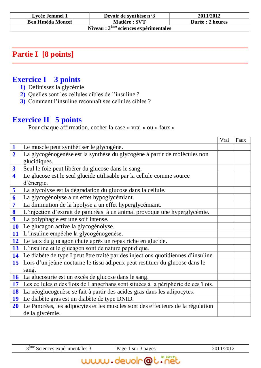 devoir 3eme science