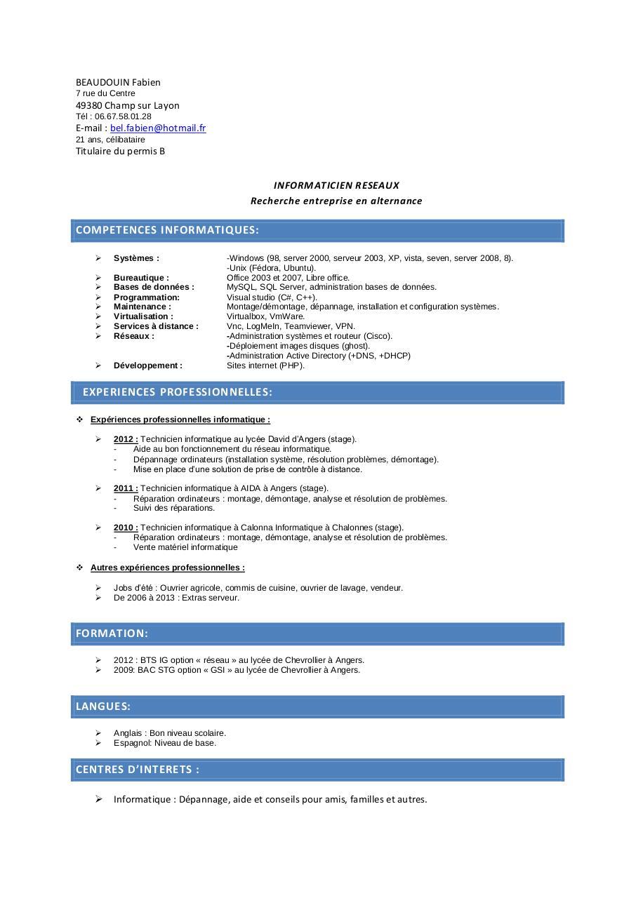 cv licence pro pdf par faboune