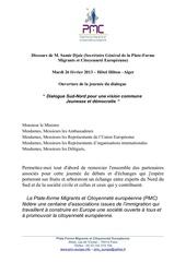 discours de samir djaiz sg alger le 26 fev 2013