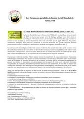 les forums en parallele du forum social mondial tunis 2013