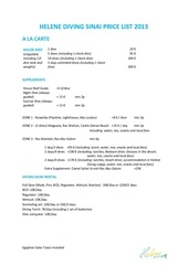 helene diving sinai price list 2013