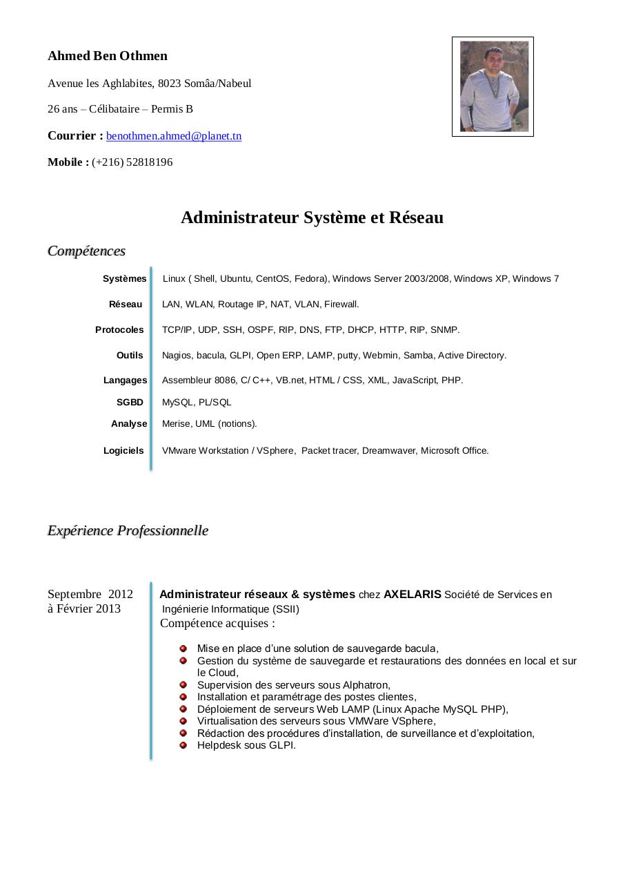 exemple cv allemand ingenieur