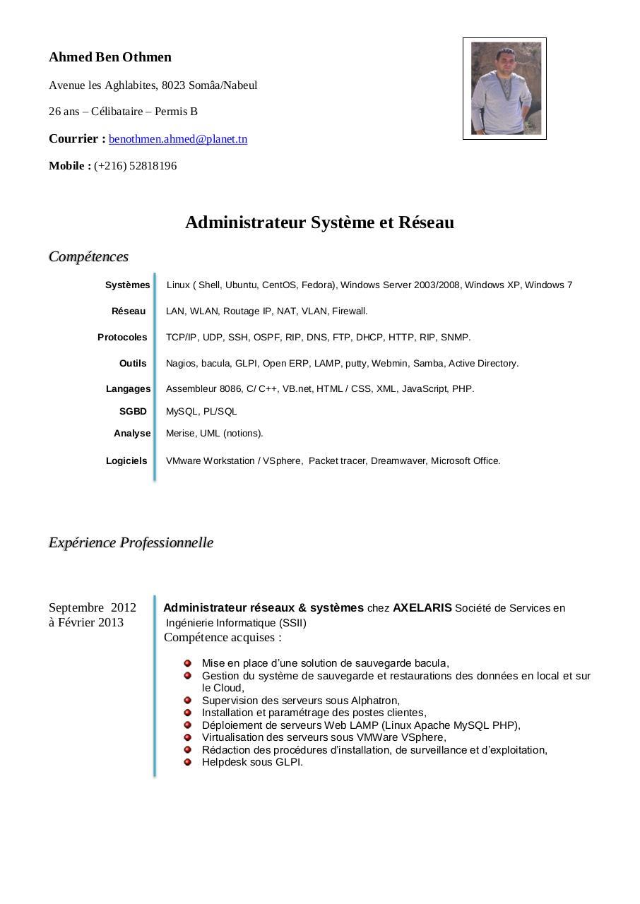 cv-informaticien pdf par ahmed