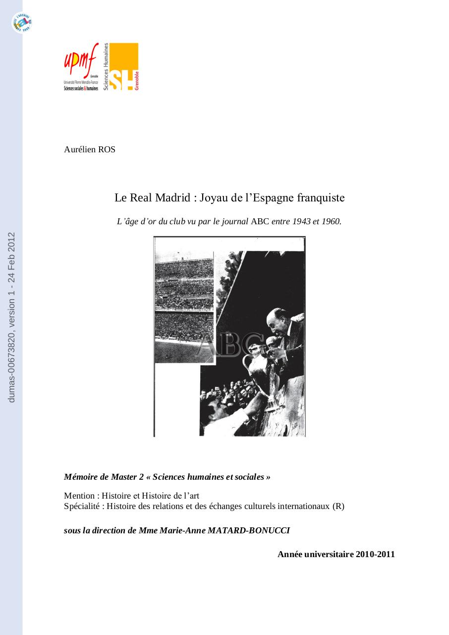 Aperçu du document Real Madrid - Epoque Franquiste.pdf - page 1/229