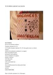 Fichier PDF mini album vacances tuto