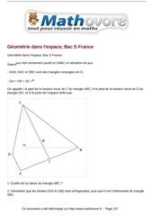 baccalaureat geometrie dans l espace bac s france maths 260