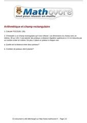 brevet arithmetique et champ rectangulaire maths 220