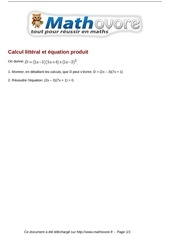 brevet calcul litteral et equation produit maths 214