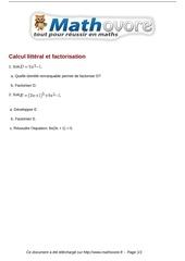 brevet calcul litteral et factorisation maths 215