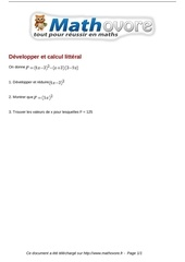 brevet developper et calcul litteral maths 218