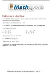 brevet probleme sur le calcul litteral maths 216