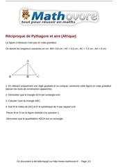 brevet reciproque de pythagore et aire afrique maths 201