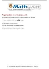 Fichier PDF brevet trigonometrie et cercle circonscrit maths 204