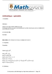 cours arithmetique specialite maths terminale 14