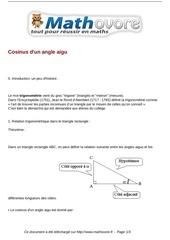 cours cosinus d un angle aigu maths quatrieme 35