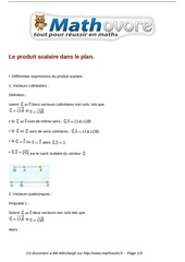 cours le produit scalaire dans le plan maths premiere 53