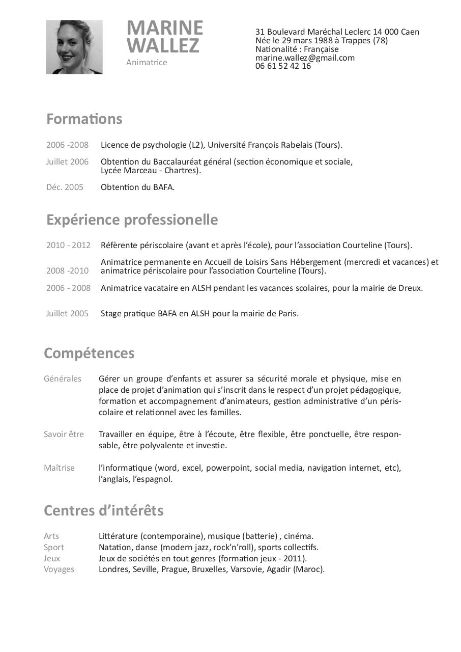 cv marine wallez animation  cv marine wallez animation pdf