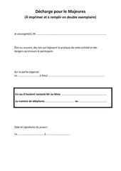 decharge pour le majeures pdf