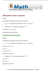 exercices affirmations vraies ou fausses maths seconde 979
