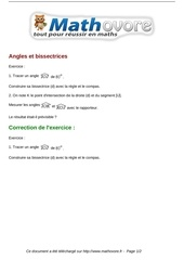 exercices angles et bissectrices maths sixieme 1231