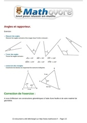 exercices angles et rapporteur maths sixieme 262